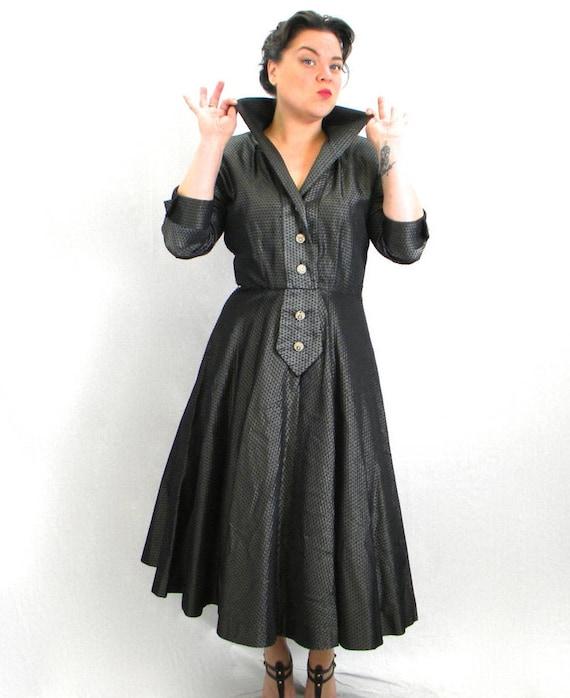 1950s Gray Taffeta Dress | 50s Gray Stripe Taffeta