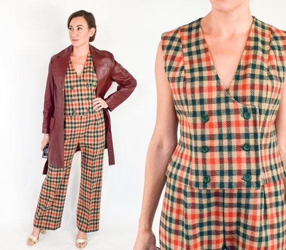 1970s Plaid Wool Pantsuit | 70s Green & Orange Pla