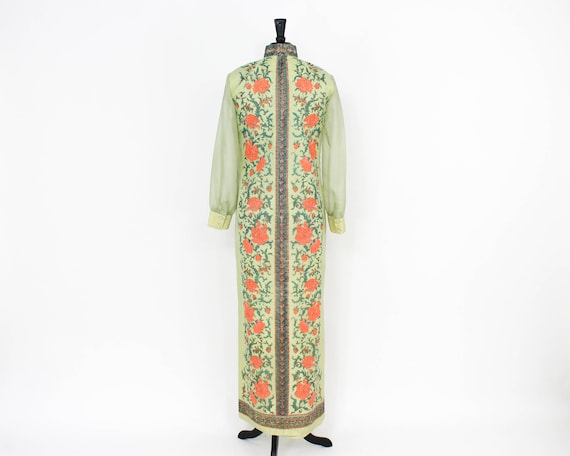 Alred Shaheen   1970s Green Maxi Dress   70s Scre… - image 7