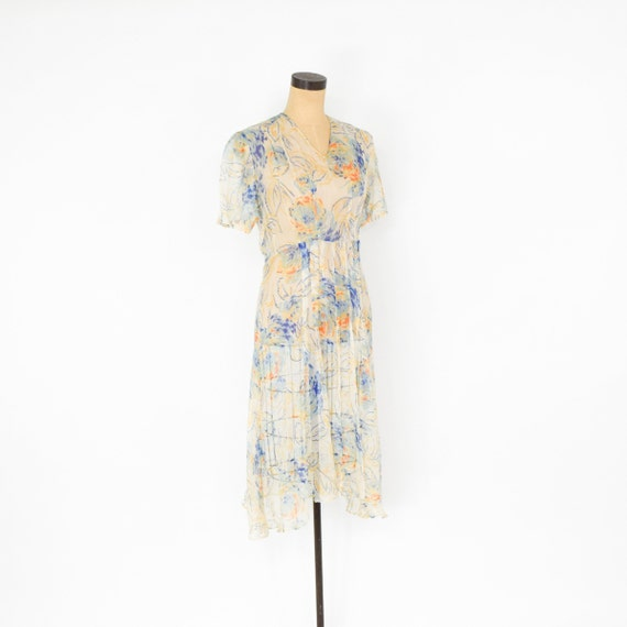 1920s Creme Flowered Silk Chiffon Dress | 20s Flo… - image 3