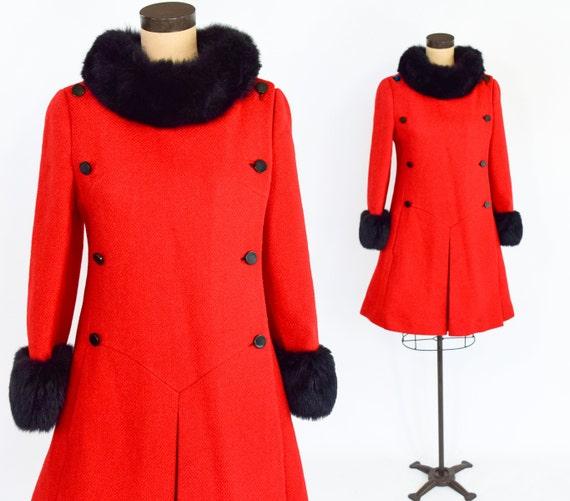 1960s Red Wool Fur Trim Coat | 60s Mod Red Wool Co