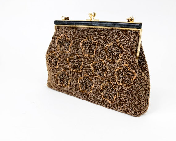 1960s Brown Beaded Evening Bag |60s Bronze Floral… - image 5