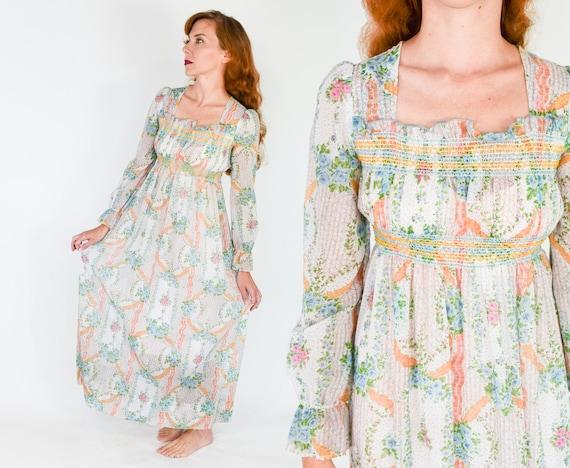 1970s Floral Maxi Peasant Dress | 70s Floral Sheer