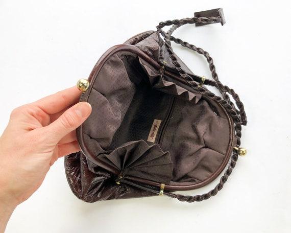 1980s Brown Eel Skin Leather Shoulder Bag   80s M… - image 7