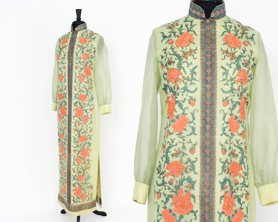 Alred Shaheen   1970s Green Maxi Dress   70s Scre… - image 2