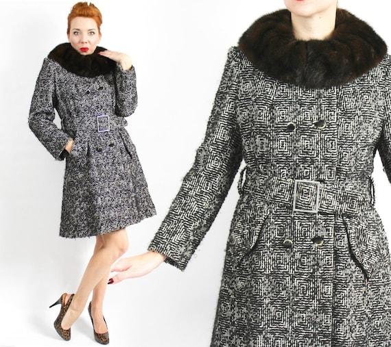 1960s Black Tweed Wool Coat | 60s Black Belted Twe
