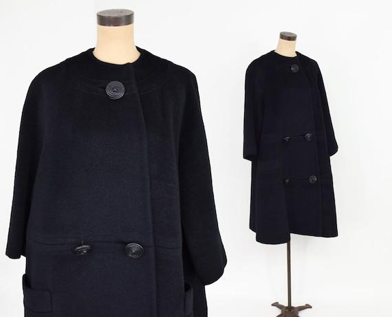 Lilli Ann | 1950s Black Wool Swing Coat | 50s Bla… - image 5