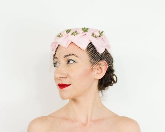 1950s Pink Petal Fascinator   50s Pink Ring Hat - image 3