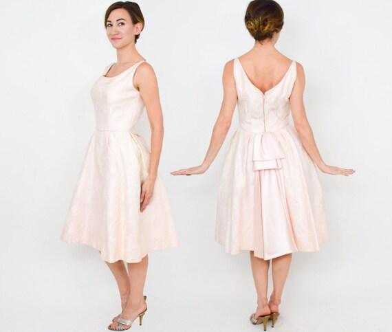 1950s Pink Brocade Party Dress | 50s Pink Brocade