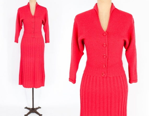 1940s Red Knit Sweater Set | 40s Wool Knit Cardiga