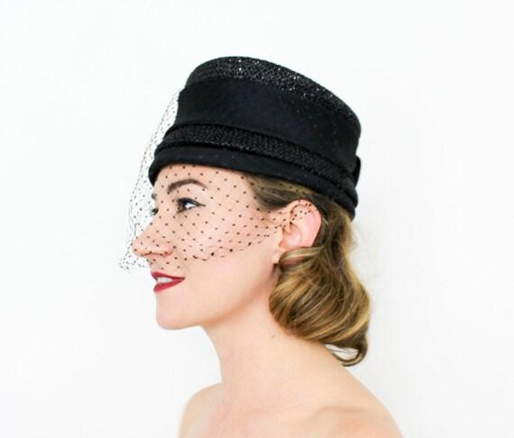 1960s Black Pillbox Hat | 50s Black Woven Straw Pi