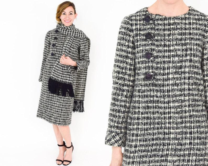 1960s Black /& White Wool Plaid Dress Medium 60s  Gray Plaid Wool Dress with Scarf