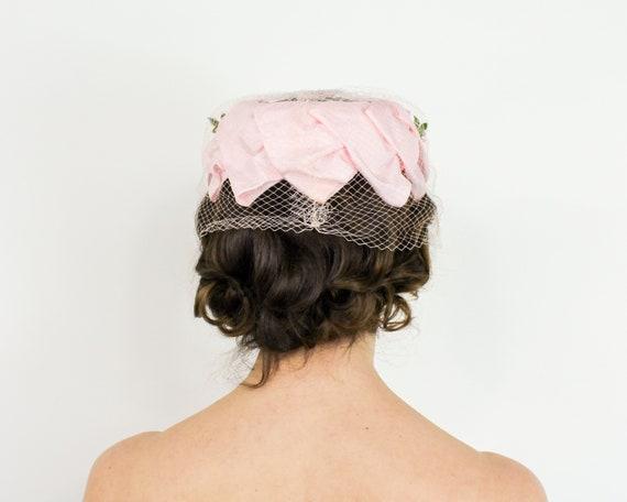 1950s Pink Petal Fascinator   50s Pink Ring Hat - image 4