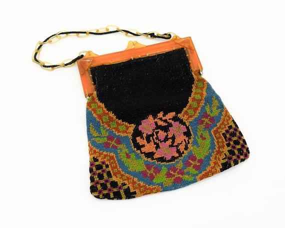 1920s Black Needlepoint Handbag | 20s Art Deco Nee