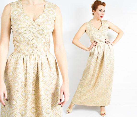 1950s Gold Brocade Evening Dress | 50s Gold Brocad