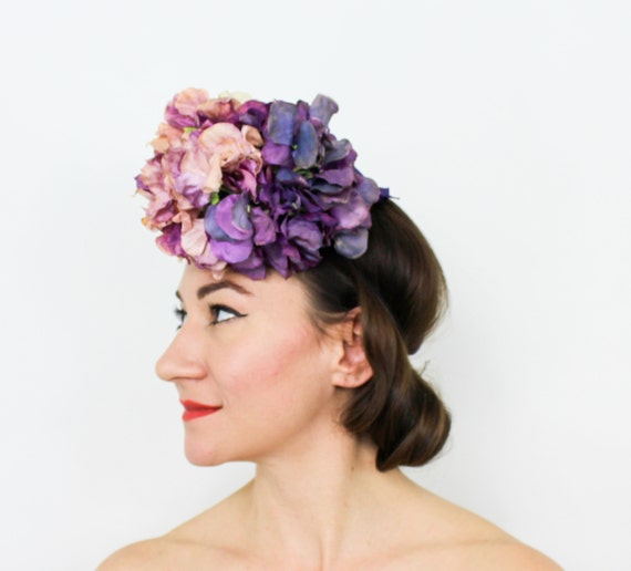 1940s Purple Flower Fascinator   40s Purple Sweet