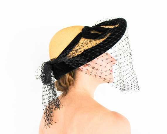 1940s Wide Brim Straw Hat | 40s Straw & Black Velv