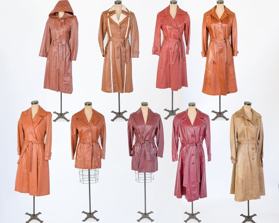 1970s Leather Trench Coats | 70s Long Caramel Maro