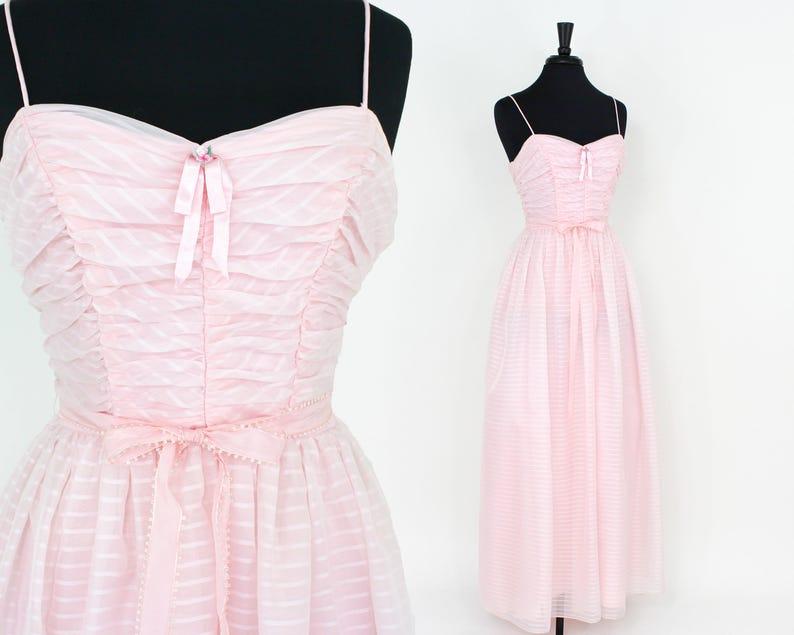 b23804f6e2 60s Pink Prom Dress Pink Chiffon Formal Dress Extra Small