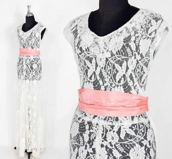 1930s White Lace Gown | 30s White Sleeveless Dress