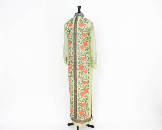 Alred Shaheen   1970s Green Maxi Dress   70s Scre… - image 6