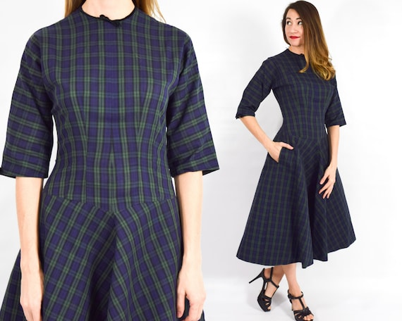 1950s Navy Plaid Cotton Dress | 50s Navy Blue Plai