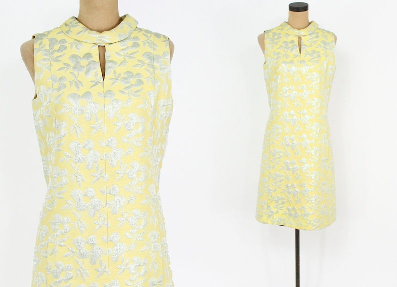 a3bab99ae003 60s Yellow Brocade Party Dress Yellow Metallic Sleeveless | Etsy