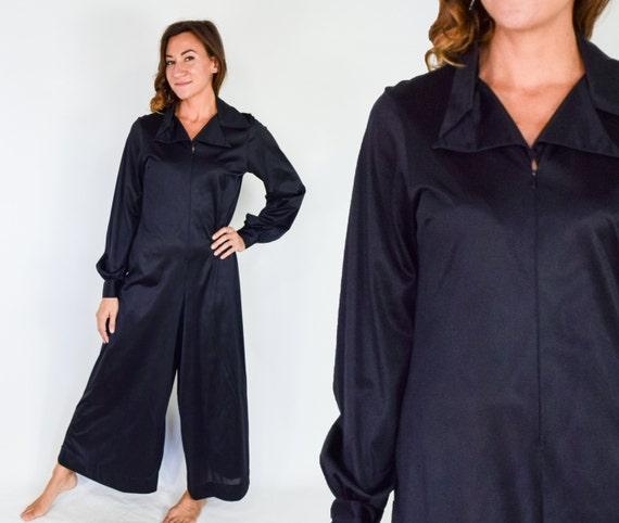 1970s Black Nylon Jumpsuit | 70s Black Maxi Linger