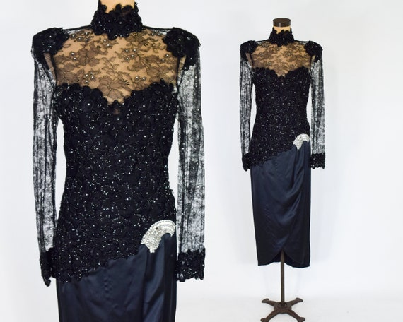 1980s Black Lace Evening Dress | 80s Black Lace &