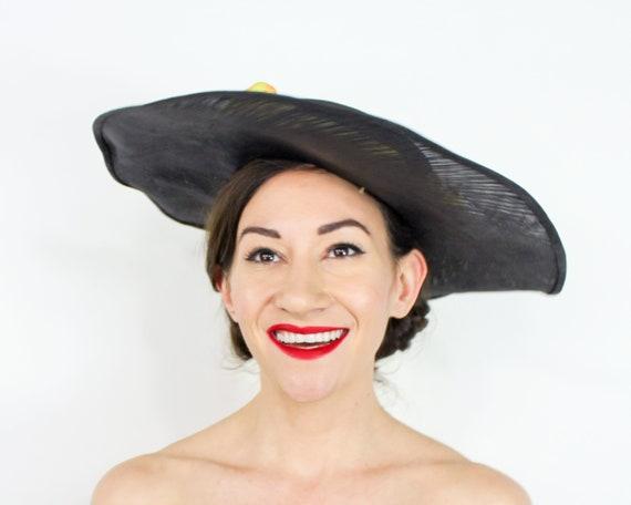 1940s Black Straw Sun Hat | 40s Black Wide Brim S… - image 10