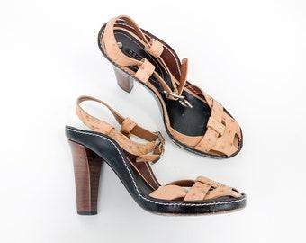 Ostrich Leather Pumps | Faux Ostrich Heel Sandals | Designer Shoes | Celine | US 7 EU 37