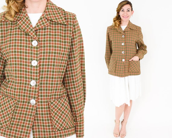 1940s Brown Wool Shirt Jacket | 40s Olive & Rust W