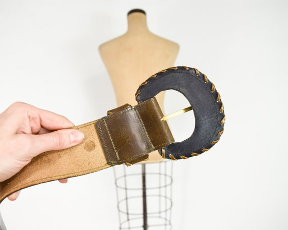 1980s Brown Wide Leather Belt | 80s Brown Leather… - image 7
