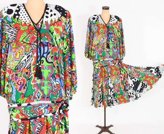 1980s Colorful Diane Freis Blouse & Skirt | 80s Op