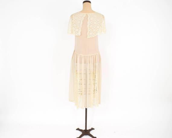 1920s Ivory Silk Chiffon Dress | 20s Ivory Chiffo… - image 6