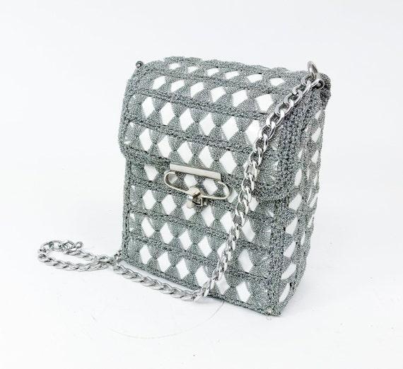 1960s Silver Box Purse | 60s Silver Metallic Croch