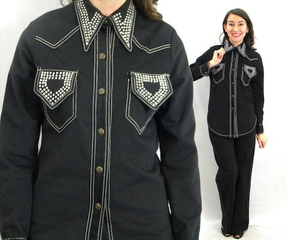 1980s Black Denim Pantsuit | 80s Black & Rhineston