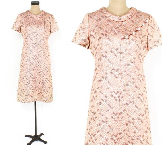 1960s Peach Brocade Dress | 60s Pink Metallic Broc