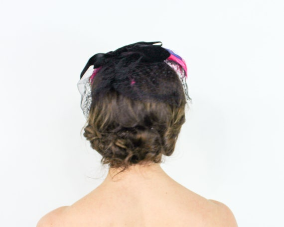 1950s Pink Feather Fascinator | 50s Magenta Feath… - image 4
