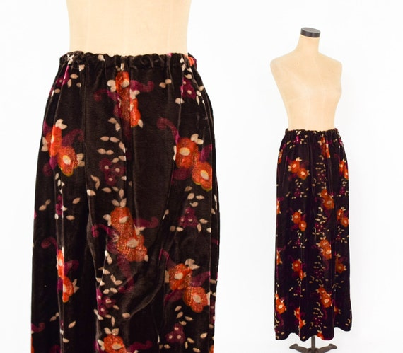 1970s Brown Velvet Maxi Skirt | 70s Brown & Red Fl
