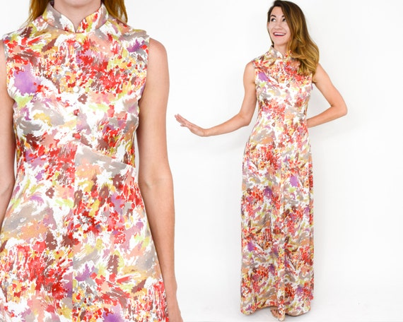 1970s Red Floral Maxi Dress | 70s  Red & White Flo