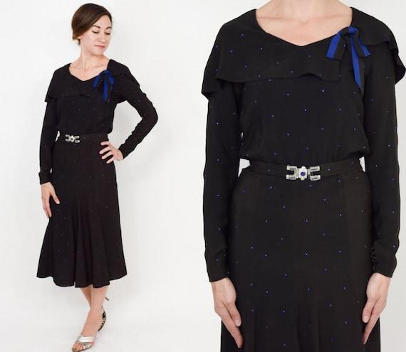 1930s Black Silk Dress | 30s Black Silk Crepe & Rh