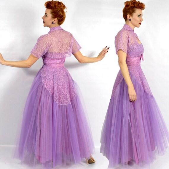 1940s Purple Lace Evening Dress | 40s Lavender Tu… - image 3