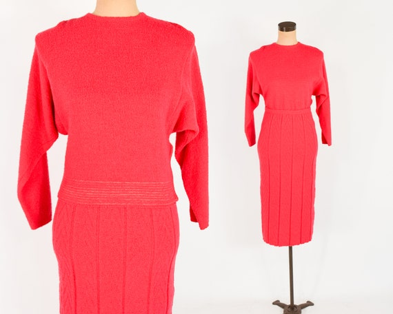1940s Red Wool Knit Sweater Set | 40s Red Knit Swe
