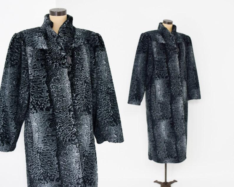 80s Steel Gray Long Fur Coat 1980s Gray Faux Fur Coat XL 40s-Style Faux FurCoat