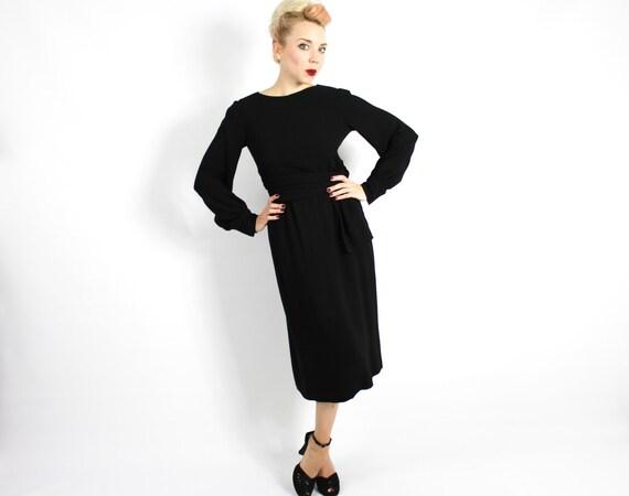 1960s Black Crepe Evening Dress | 60s Black Crepe… - image 2