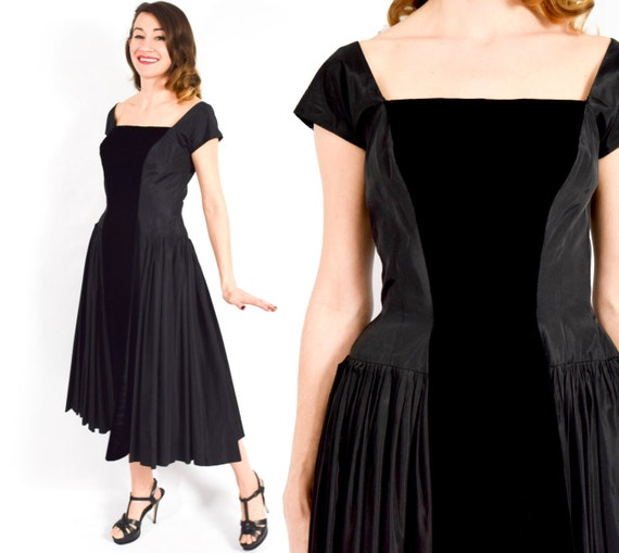 1950s Black Taffeta Party Dress | 50s Black Taffet