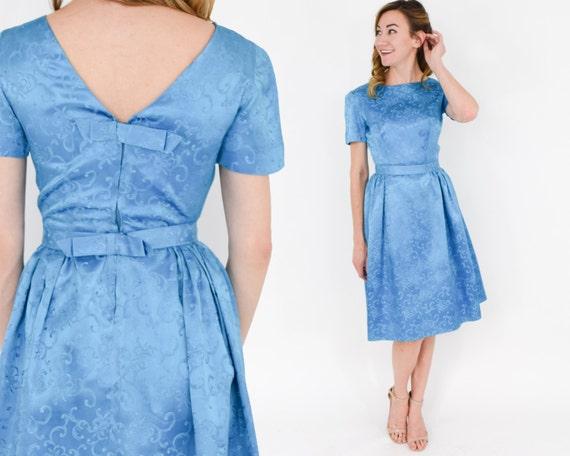 1950s Blue Satin Party Dress | 50s Blue Satin Cock