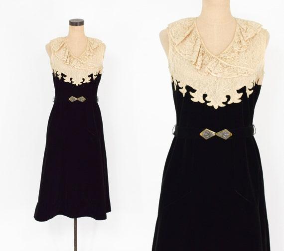 1930s Black Velvet Dress | 30s Lace & Black Velvet