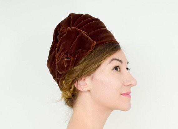 1920s Brown Turban Hat | 20s Brown Silk Velvet Tur